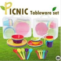 Picnic Tableware set 5set/4set/bowl small/bowl large/dish small/dish large/cup/fork/spoon/rice paddle
