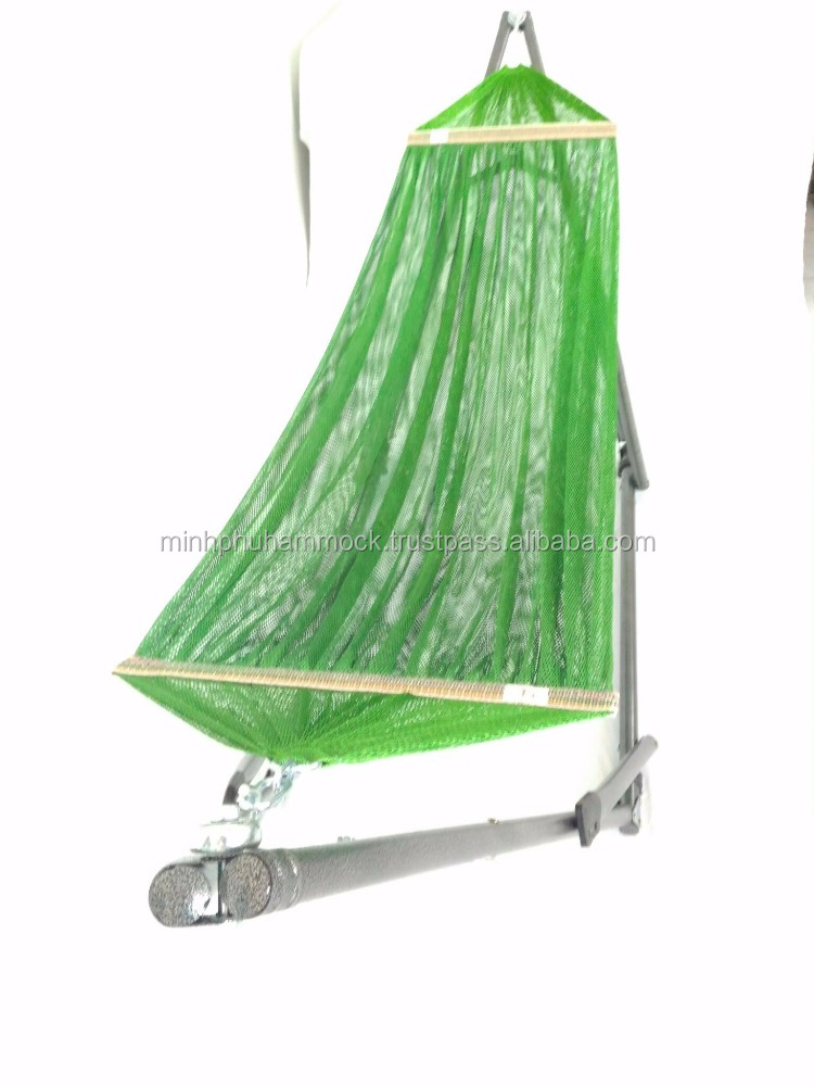 Wholesale Outdoor Furniture General Use Folding Hammock Stand with Green Hammock Net