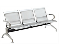 Waiting chair, 3 Seater Waiting Chair, Silver Color Waiting Chair, Airport Chair , Hospital link chair, Pu Chair, Kerusi Tunggu,