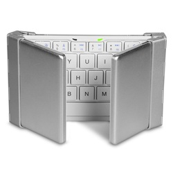 3 Fold Bluetooth Keyboard with Leather Stents Holster Case for Android for Mac IOS for Windows for Laptop Tablet Phone - White