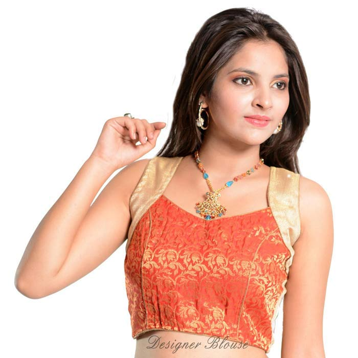 Readymade Saree Blouse Red Brocket