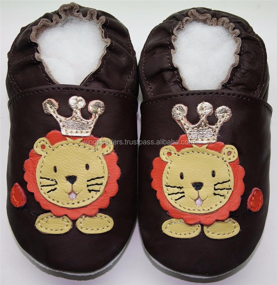 Beautiful baby leather shoes with lion and Crown