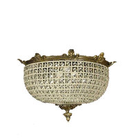 French Empire Style Basket Crystal Brass Ceiling Flush Mount Chandelier