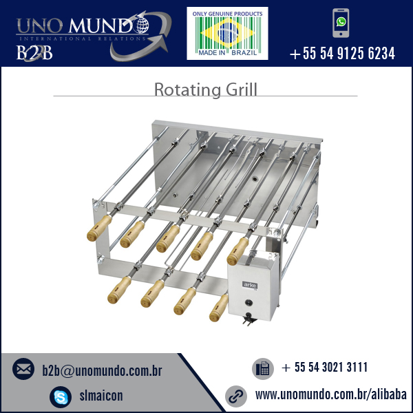 BBQ Brazil Rotating Grill in Stainless Steel (Double Version) - CRID 9 Skewers Arke