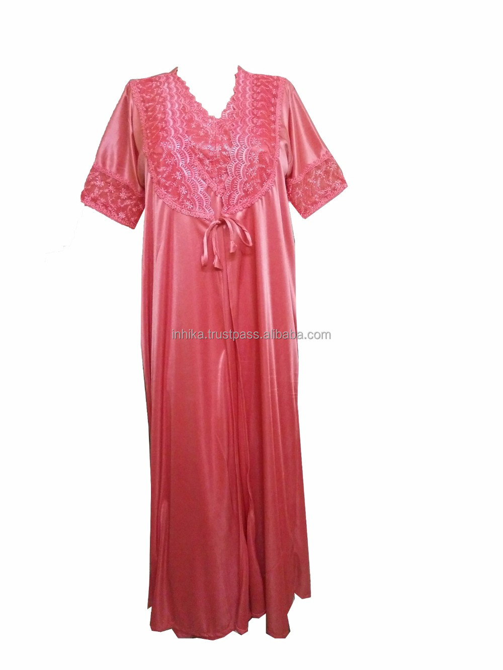 Ladies Women Satin 2 pieces set Nighty Night Gown Night Suit House Coat Night Wear 2903