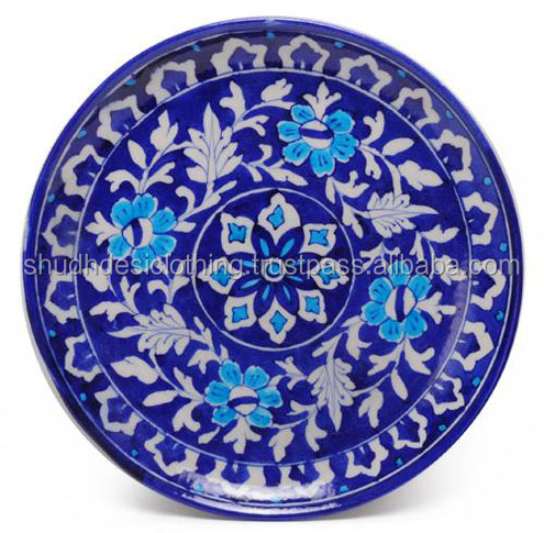 Indian Vintage Blue Pottery Dishes / Plates For Dinnerware