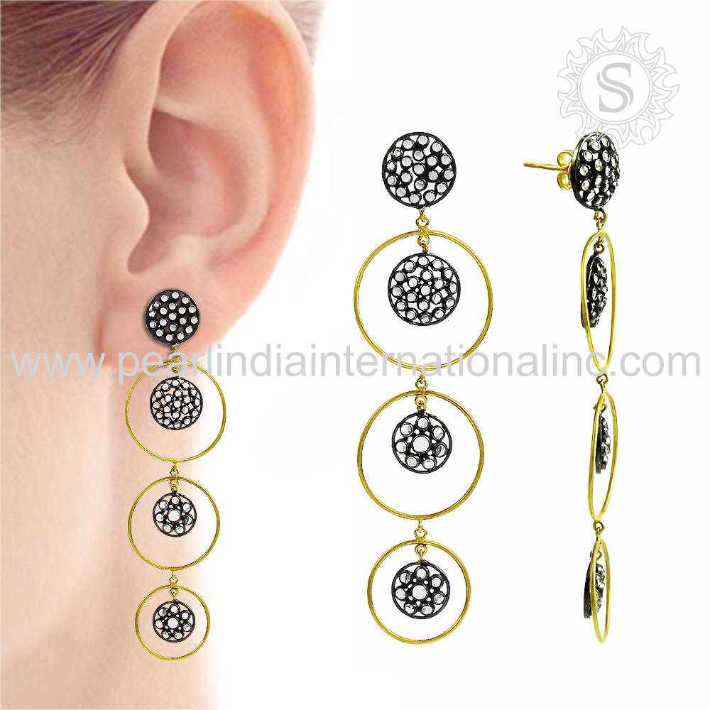 Glowing micro pave cz gold plated earrings wholesale 925 sterling silver jewelry indian silver jewelry supplier