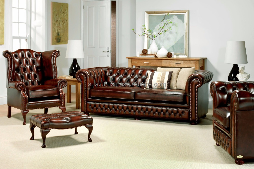 Leather wooden Sofa set , American antique style genuine leather solid wood sofa set design , Original leather room furniture