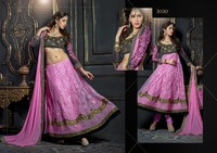 Gorgeous heavy embroidered long sleeves anarakali choli pink & black salwar kameez