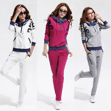 casual lady Track suit Jacket sweat pants set,women's pure cotton sport Slim leisure Hoodie