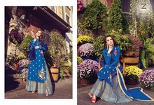 New blue colour salwar kameez woman dress product 2017