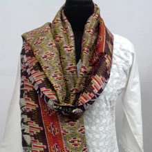 Kantha Silk multicolor wool silk reversible scarf Stole
