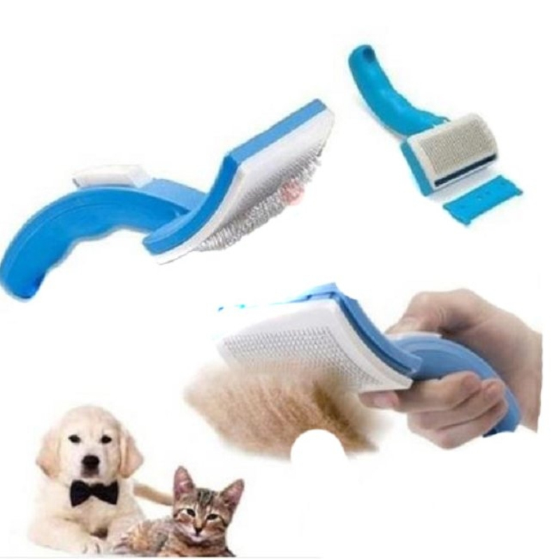 Practical Pet Comb Brush Plastic Handle Clean Shedding Hair Tools Fine Trimmer Dog Cat Cleaning Grooming Fur Comfortable Cleaner