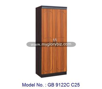 Simple Design 2 Door Wardrobe For Bedroom Home Small Furniture In MDF And PVC