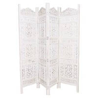 Store Indya Wooden Screen Panel Partition with Intricate Carvings Room Divider Entrance Door Screen by Store Indya