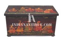 INDIAN WOODEN MUGHAL COURT PAINTED BLACK STORAGE BOX - EXCLUSIVE INDIAN HAND PAINTED FURNITURE- INDIAN WOODEN ART AND CRAFT-