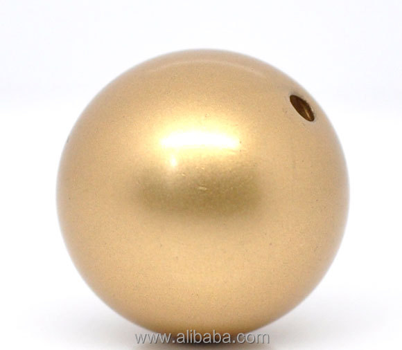 Brass Tone ABS Smooth Ball Spacer Beads 22mm Dia. <strong>W</strong>/2.2mm Hole,sold per packet of <strong>10</strong>