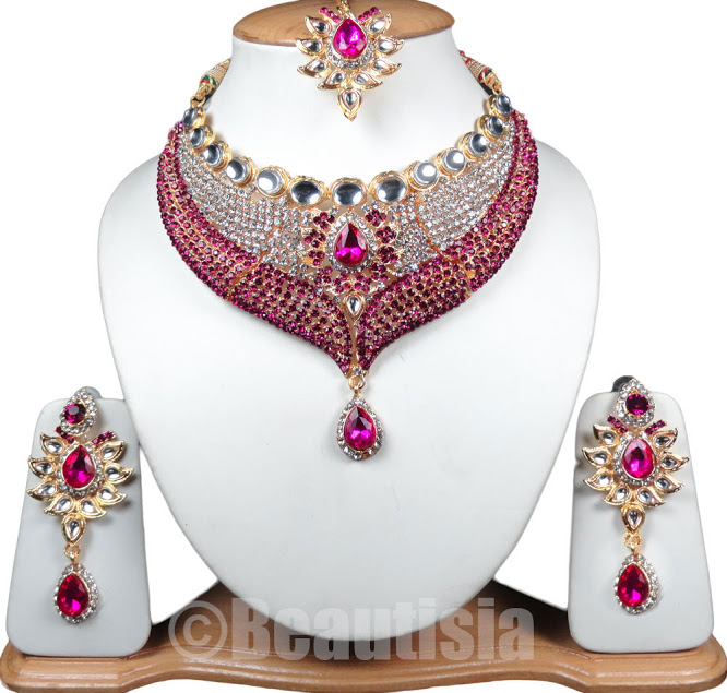 Bridal Indian Jewelry Bollywood Style Necklace Set Magenta Color