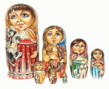 Girls with Dogs Handmade Nesting Dolls Matryoshka Painting Russian Doll Ornaments Kids Wooden Games Set 5pc