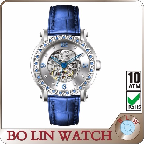 2016 mens skeleton automatic mechanical watch with leather band