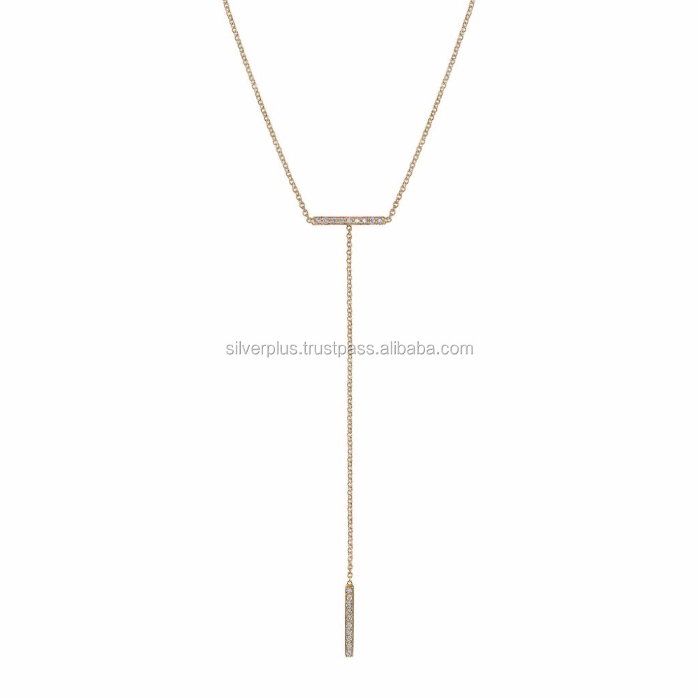 14k Yellow Gold 10 mm Diamond Bar 4 Inch Drop Lariat Necklace Adjustable Chain 16 - 18 Inch