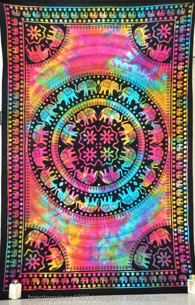 Wholesale Indian Cotton Tapestry Wall Hanging Bedspread Hippie Printed Mandala Tapestries