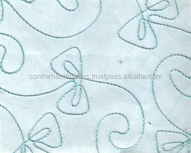 aqua blue embroidered non woven paper for scrapbooking, art and crafts, gift wrapping, lampshades,