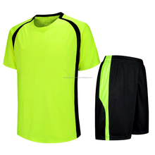 Micro Interlock 100% Polyester Flourocent Green & Black Soccer Uniforms Prime quality with lowest prices kits