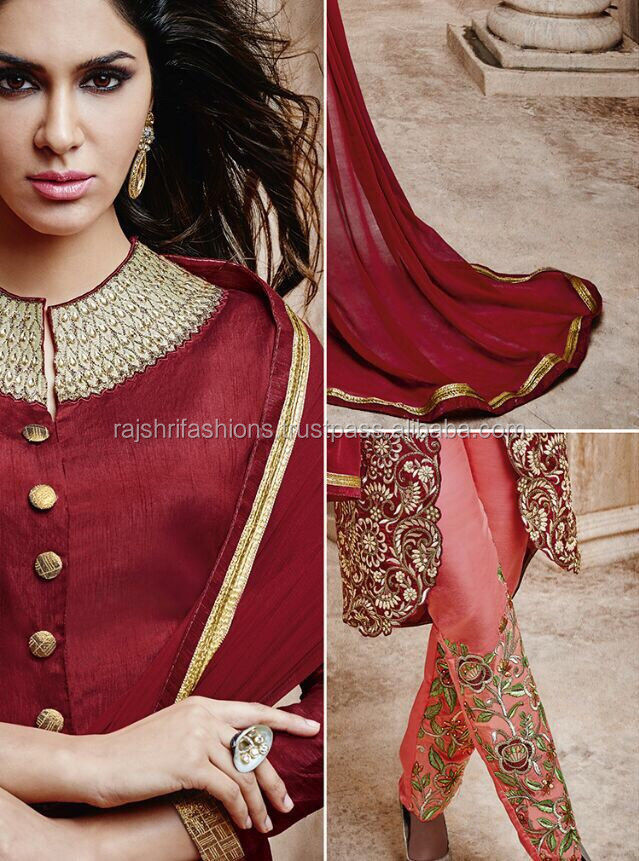 Maroon color with zari embroidery work at neck and bottom cut design designer semi stitch salwar kameez