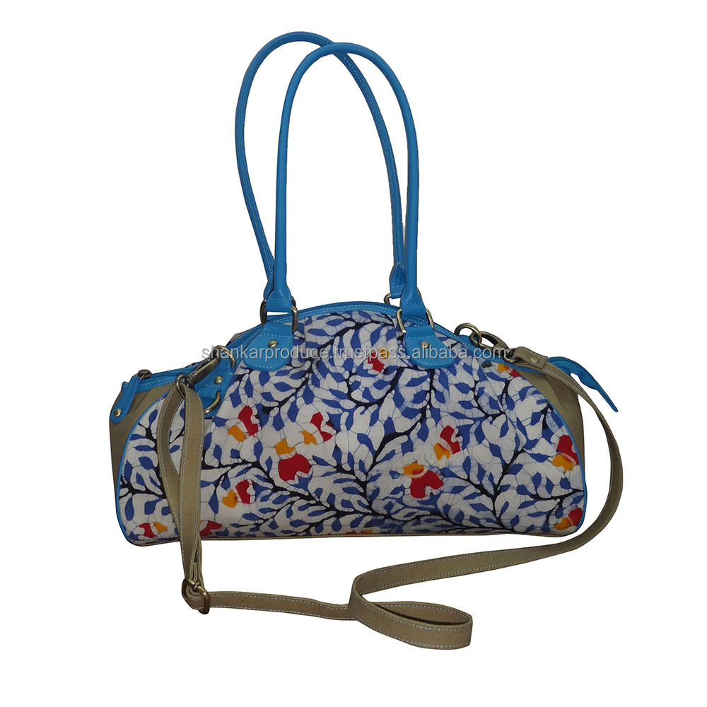 Baguette Bag In Handmade Batik and Canvas With Leather Trims
