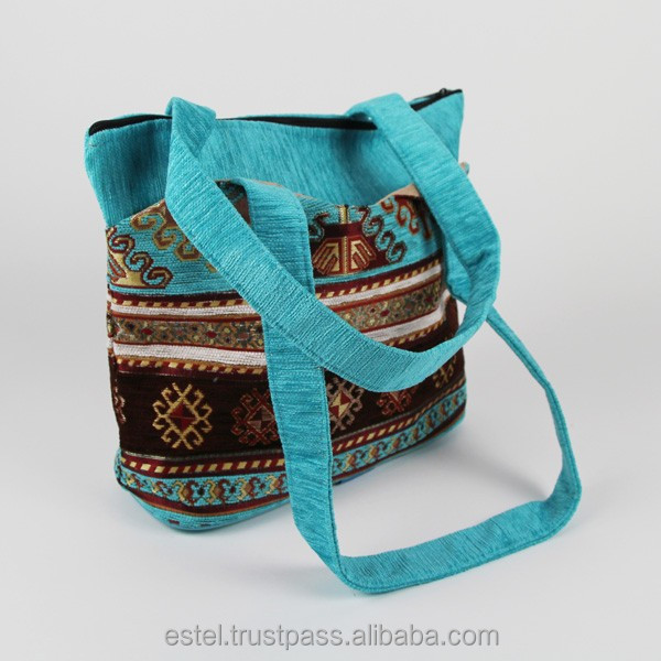 Beautiful turquoise Kilim design tote bag from Turkey E100053