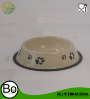 stainless steel bowl for dog with rubber pad base