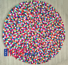 Felt ball rug 100 cm round, multicoloured, nepal felt ball rug, wholesale, manufacturer, supplier of rugs