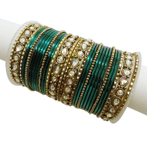 Teal Green Bangle Set Traditional Party Gold Tone Bracelet Jewelry Indian Wedding Bridal Fashion Ethnic Churi 2*6-BSB671A