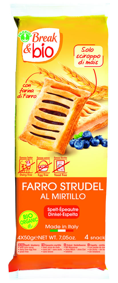 Break & Bio Farro Strudel At Blueberry Organic 4x50g