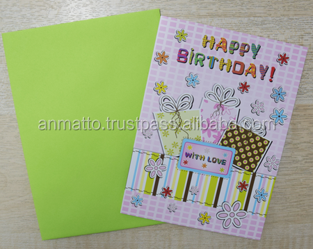 Happy Birthday Greeting card pink, presents, flowers, with love - A1055