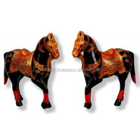 New handmade rajasthani traditional style vintage and art collection Royal Horses -Wooden Statues/Best decorative two pair horse