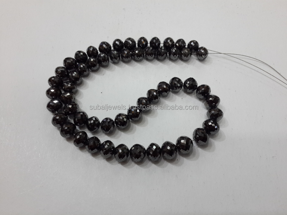 Black Diamond String Round Beads 5-7mm 16""