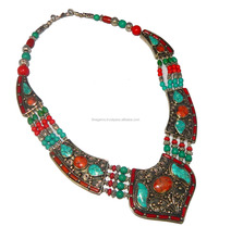 Tibbatian turquoise, red coral nepali necklace jewellery