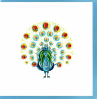 paper greeting card, animal theme, peacock picture, size 10 x10 cm