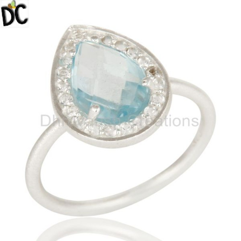 Wholesale Girls Party Rings 925 Sterling Fine Silver Rings Manufacturers of Blue Topaz Gemstone Fine Jewelry