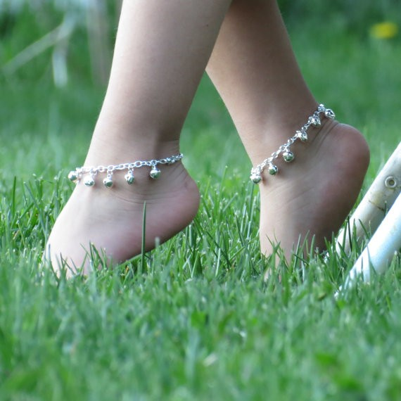 Cute silver anklets for kids, Jingle Children Bell silver Anklet