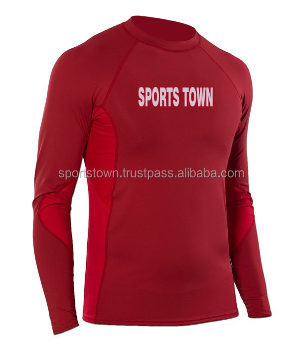 beautiful custom print red rash guard for running with size chart for men and women / wholesale cheap prize blank mma RashGuard