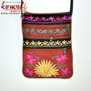 Neon Color Multi Pocket Floral Design Girls Sling Bag - Suede Leather Bag Embroidered Fashion Sling Bag