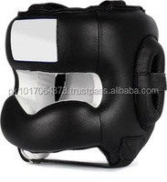 Black leather Head Guard Custom made SPECIAL helmet in martial arts Head Guard