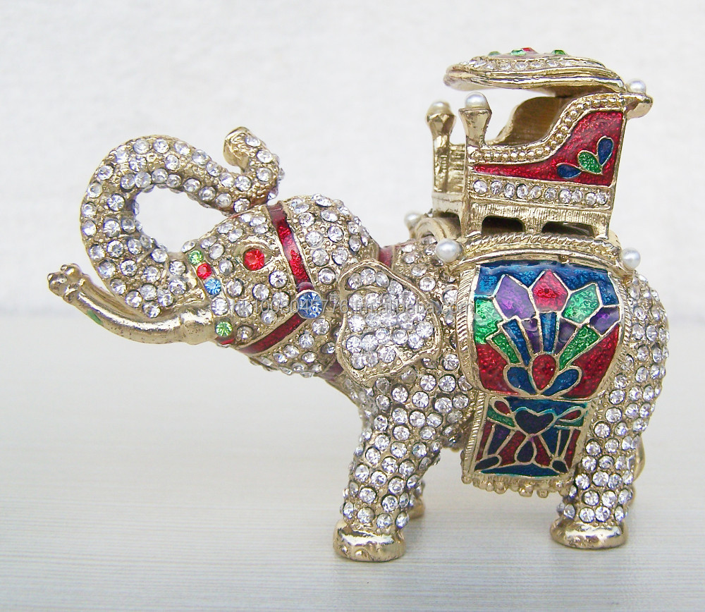 Rhinestone elephant trinket jewelry box elephant figurine statue metal vintage home decoration jewelry organizer souvenir gift