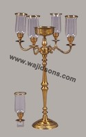 Classic Golden Hurricane Candelabras And Centerpieces For Party Decoration
