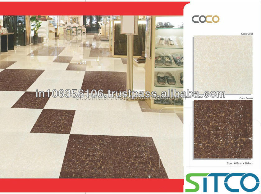 Non slip acid resistant polished porcelain wall and floor tile / From SITCO India