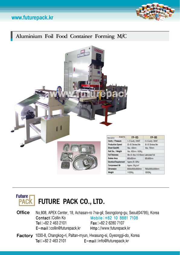 ALUMIUM FOIL FOOD CONTAINER FORMING MACHINE.