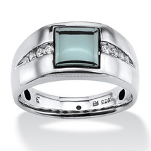 Genuine Hematite and White Sapphire Ring in Platinum Over 925 Sterling Silver